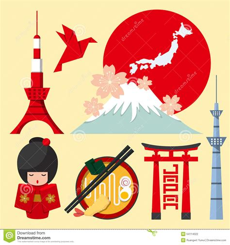 japan design set of japan icon in flat design stock vector