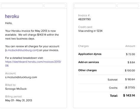 redesigned monthly invoices heroku