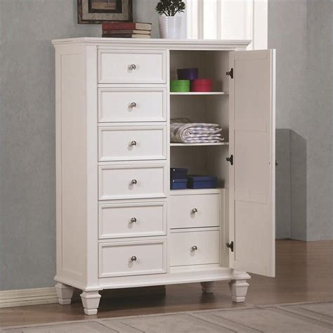 armoire chest of drawers coaster sandy beach armoire in white 201308