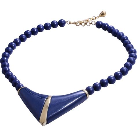 monet navy blue collar necklace from heartofgems on