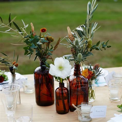 country fall party table; informal arrangement amber