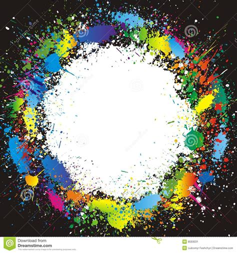 color paint splashes border vector background stock vector image 8593031