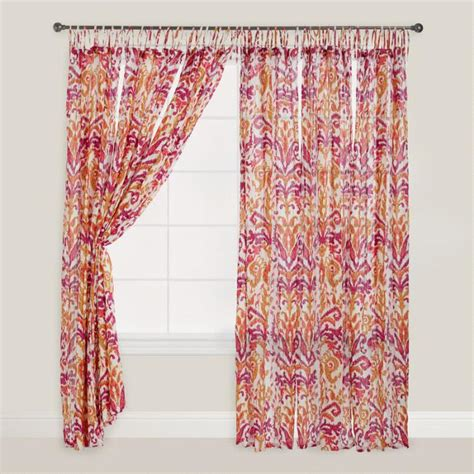 orange red curtains pink and orange ikat crinkle voile curtains set of 2