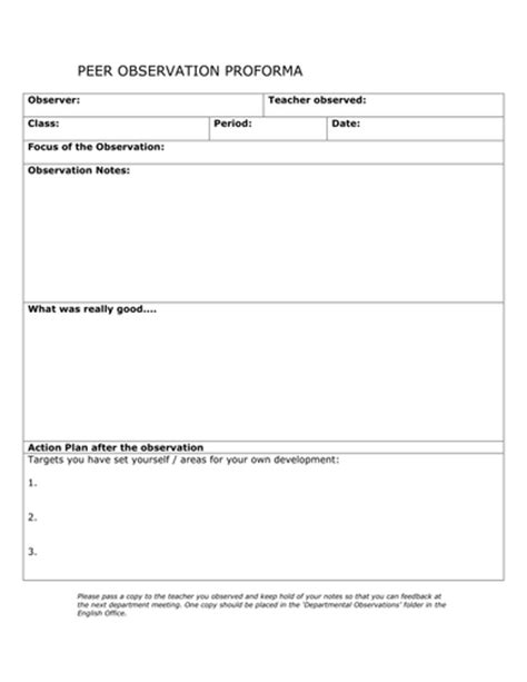 observation field notes template peer observation form to encourage the of