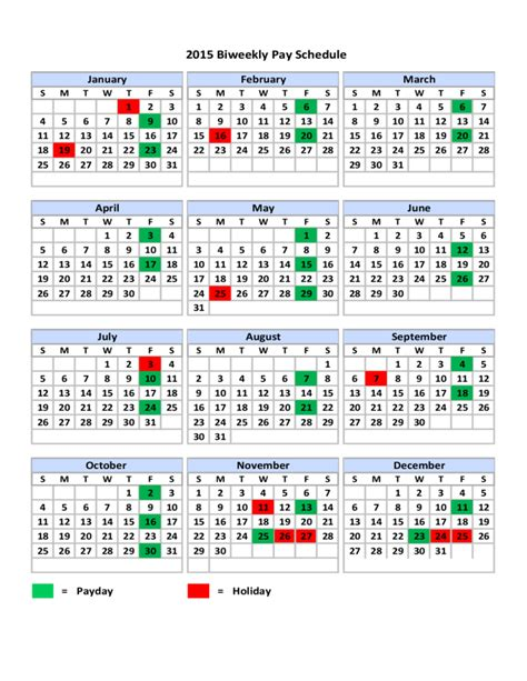 Bi Weekly Pay Calendar 2015 Biweekly Pay Schedule Free