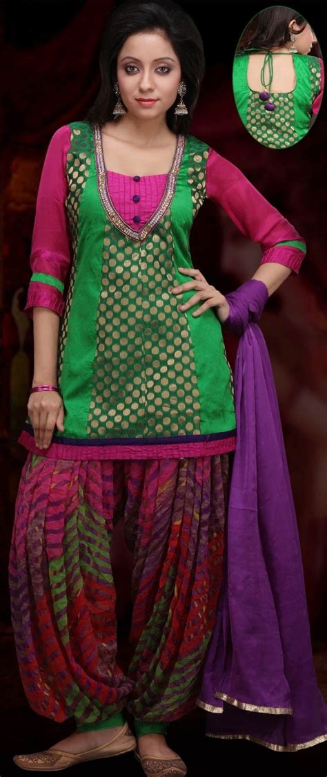 patiala kurta pattern green and red art chanderi and dupion silk patiala with