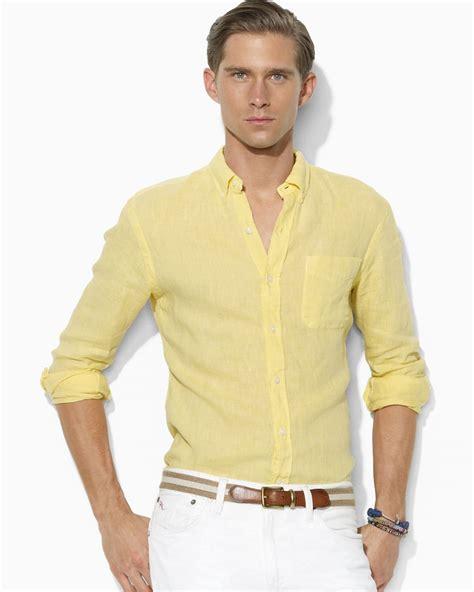 light yellow mens dress shirt lyst ralph polo customfit linen button shirt
