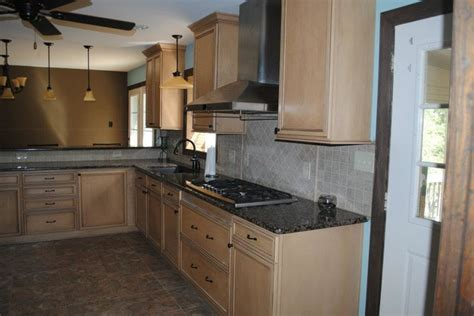 Backsplash With Maple Cabinets by Duraceramic Floors Maple Cabinets Baltic Brown Granite