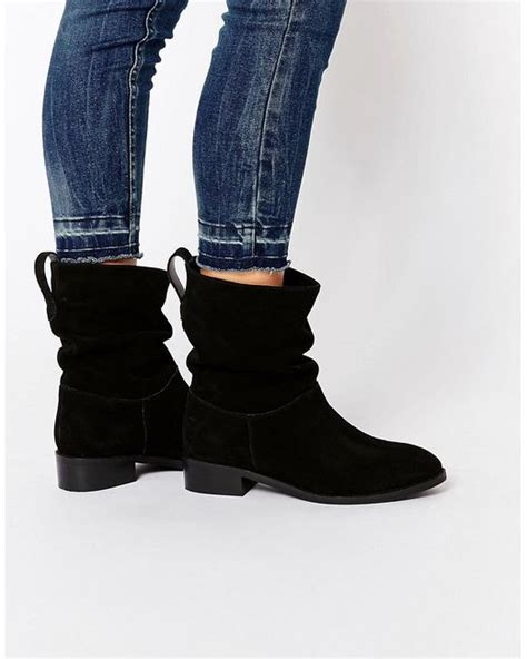 asos anika wide fit suede pull on ankle boots in black lyst