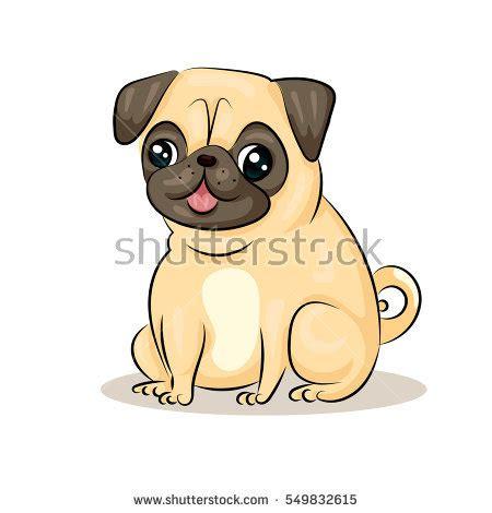 comic pug vector pug stock vector 549832615