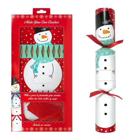 6 snowman make your own crackers christmas from tj hughes uk