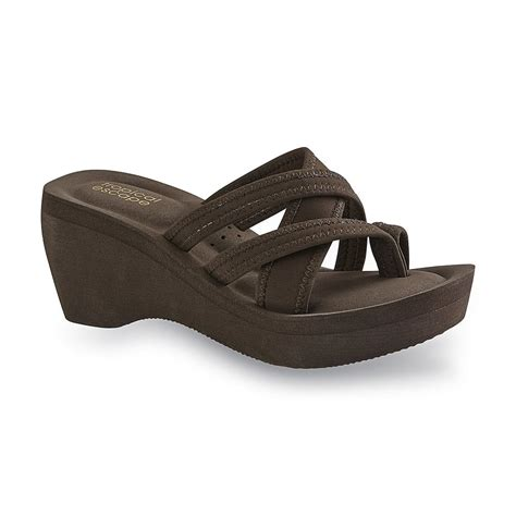 sears womens sandals tropical escape s venice brown strappy wedge sandal