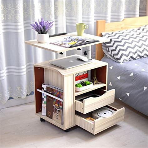 Nightstand With Wheels by Emall Functional Bedside Table Adjustable Wooden