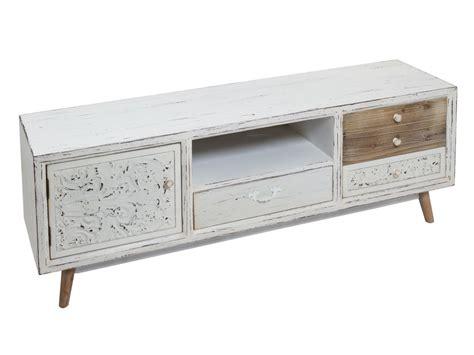 mueble vintage mueble tv vintage blanco envejecido de madera de abeto y dm