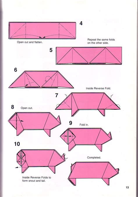 Origami Pig Diagram - simple pig origami 1 papes