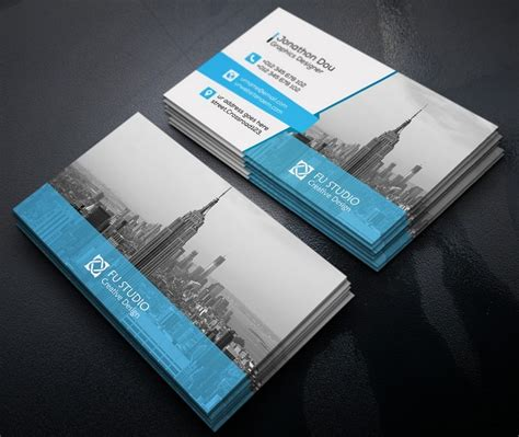 psd template bussiness card with photo free creative blue orange business card templates psd