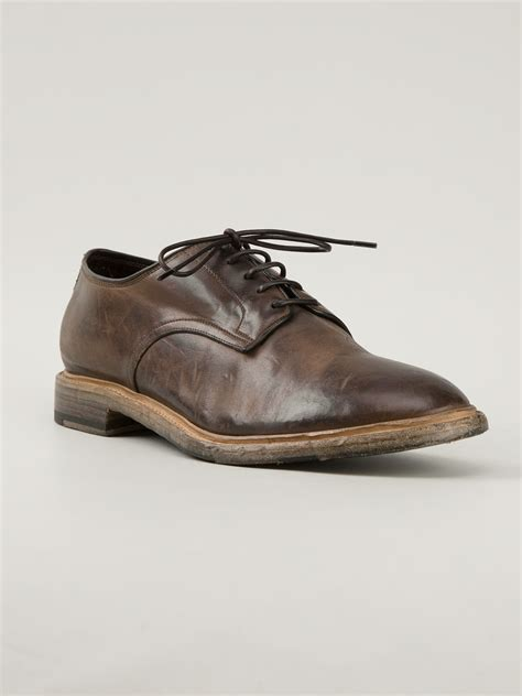 shoes for silvano sassetti distressed derby shoe in brown for lyst