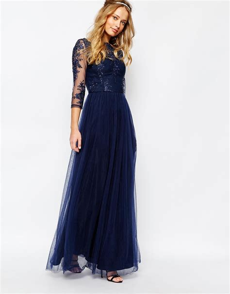 discount navy blue maxi skirts 2017 navy blue maxi chi chi bardot neck maxi dress with premium lace and tulle skirt navy in blue save 41