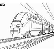 Passagiers Trein Op De Rails Kleurplaat