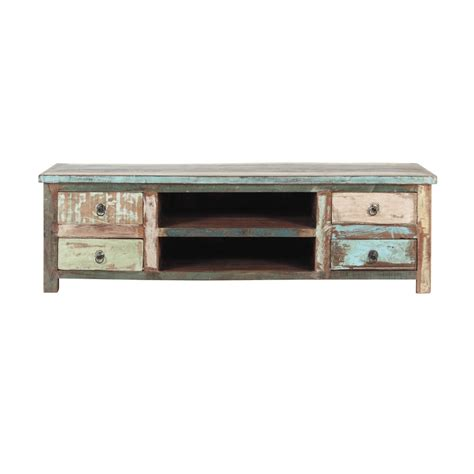distressed recycled wood tv unit w 140cm calanque