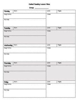 guided reading weekly lesson plan template ela