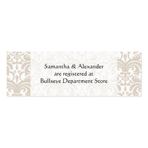 Bridal Registry Template Card by Personalized Wedding Gift Registry Cards Insert
