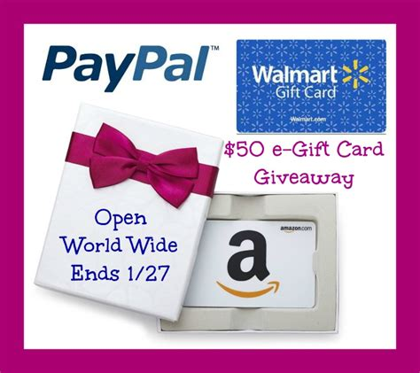Paypal To Gift Card Amazon - amazon paypal or walmart 50 gift card giveaway powered by mom