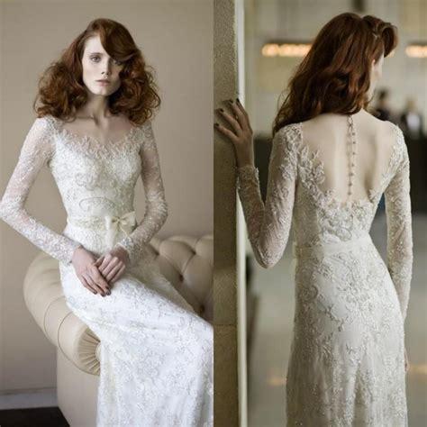 Brautkleid Vintage Langarm by Vintage Sleeve Wedding Dresses Lace Sash Illusion