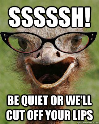 Be Quiet Meme - sssssh be quiet or we ll cut off your lips judgmental