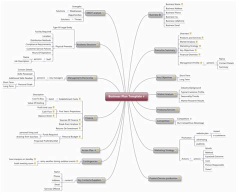 Business Plan Template mind map   Biggerplate