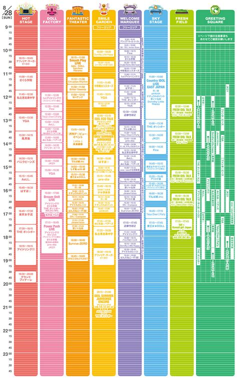 Upm Mba Timetable by Time Table Tokyo Idol Festival 2011