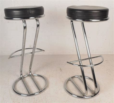 chrome and leather bar stools pair of mid century modern leather and chrome bar stools