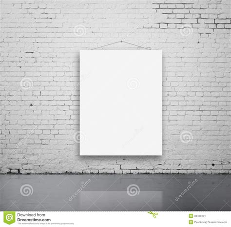 posters on bedroom wall blank poster on wall stock image image of hanging brick 33488131