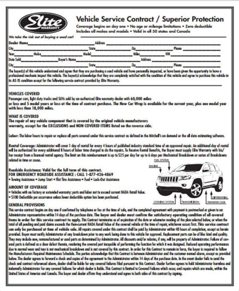 vehicle service contract 7 sle vehicle service contract sle templates