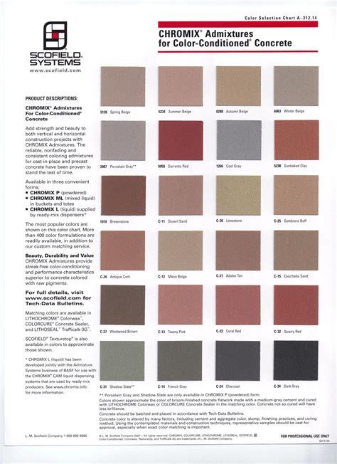 scofield color chart concrete color charts concrete contractor