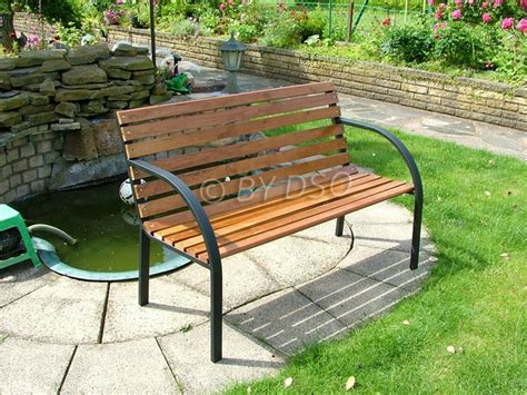 outdoor sitting bench new 2 seater person wooden metal bench seat park sitting