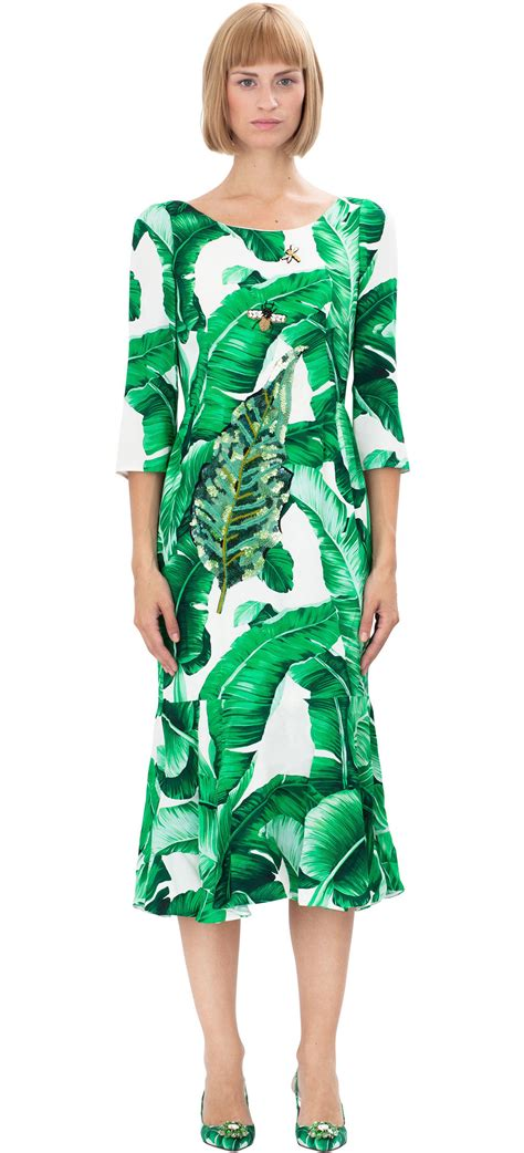 Leaf Dress White dolce gabbana banana leaf print dress in white lyst