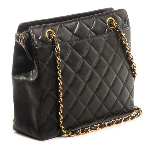 chanel vintage lambskin quilted shoulder bag black 72445
