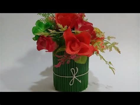 simple membuat vas bunga  sedotan youtube