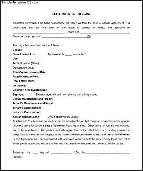 Letter Of Intent Template To Lease Free Simple Letter Of Intent To Lease Blank Form Sle Templates