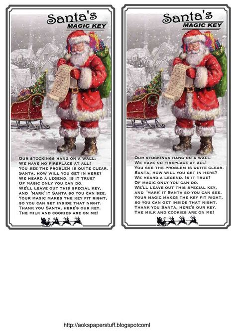 printable santa key template aok s paper stuff and more santa s magic key tags