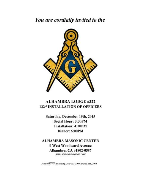 2016 installation program the alhambra masonic lodge no 322