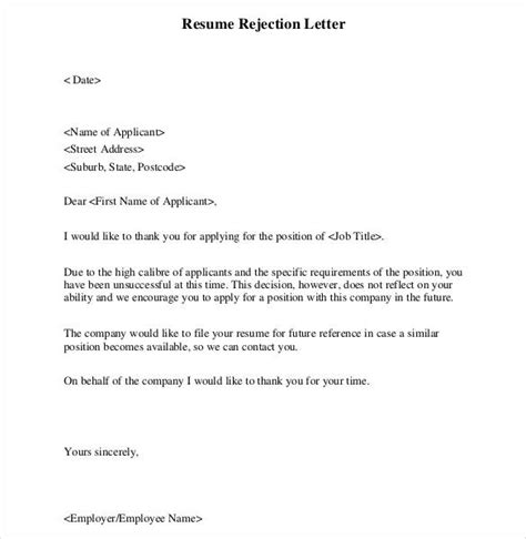 27 Rejection Letters Template Hr Templates Free Premium Templates Free Premium Templates Rejection Email Template