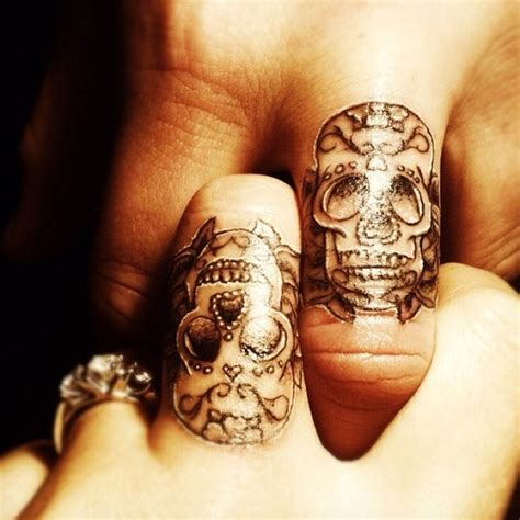 matching ring tattoos for couples finger tattoos for couples