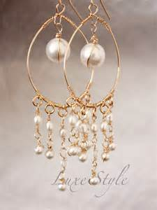 Artistic Handmade Jewelry - bridal chandelier earrings pearl drop gold earrings wire