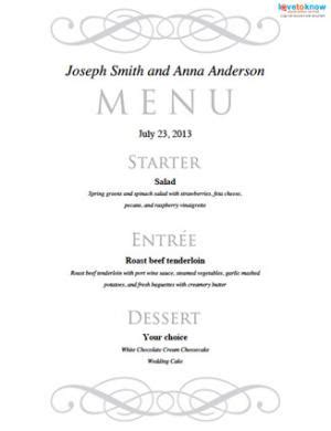 wedding menu choice template gratis print wedding menu skabeloner det ebernie