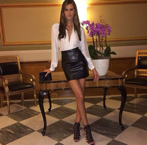 Mini Skirt Black White Jfashion izabel goulart in a leather skirt and white blouse izabel goulart blouse