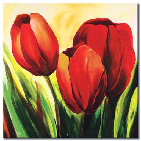 cuadros tulipanes foto en lienzo tres tulipanes tulipanes flores cuadros