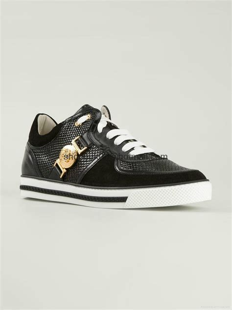versace black calf leather gold tone chain trim hi top