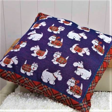 tartan rugs and cushions westie tartan terrier tapestry cushion gifts for westie owners